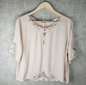 ASTR the label lace accented blouse